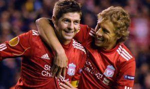 Lucas y Gerrard en Liverpool | Fuente: Twitter Lucas Leiva
